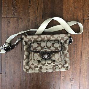 Coach brown signature crossbody purse